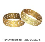 couple of gold wedding... | Shutterstock .eps vector #207906676