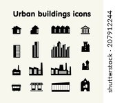 urban buildings icons  housing  ... | Shutterstock .eps vector #207912244