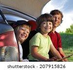 three cheerful child sitting in ... | Shutterstock . vector #207915826
