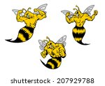 Angry yellow and black cartoon wasp or hornets with a sting shaking his fist and baring his teeth, cartoon logo illustration on white - stock vector
