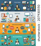 flat design. freelance jobs... | Shutterstock .eps vector #207930550