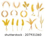 cereal ears and grains set for... | Shutterstock .eps vector #207931360