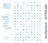 150 universal icons  | Shutterstock .eps vector #207942184