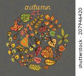 autumn leaves wreath fall... | Shutterstock .eps vector #207946420