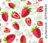 strawberry vector seamless... | Shutterstock .eps vector #207959830