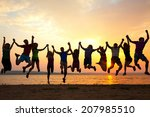 group of happy young people... | Shutterstock . vector #207985510