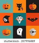 halloween cute set of icons  ... | Shutterstock .eps vector #207996889