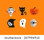 halloween cute set of icons  ... | Shutterstock .eps vector #207996910