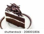 Chocolate Cake Slice On White...