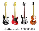 Set Of Isolated Vintage Bass...