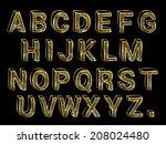 hand made look gold foil font... | Shutterstock . vector #208024480
