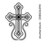 Traditional Armenian Apostolic Church cross clip art. Vector illustration