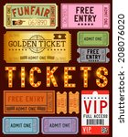 a collection of various ticket... | Shutterstock .eps vector #208076020
