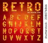 retro lightbulb alphabet... | Shutterstock .eps vector #208076866
