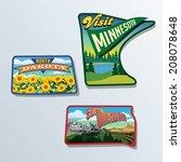 South Dakota, North Dakota, Minnesota, United States vector illustrations - stock vector