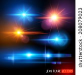 vector lens flare effect set | Shutterstock .eps vector #208079023
