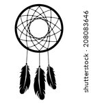 a silhouette of a dream catcher. | Shutterstock .eps vector #208083646