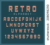retro alphabet font. type... | Shutterstock .eps vector #208098250