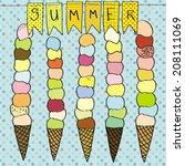 summer ice cream vector | Shutterstock .eps vector #208111069