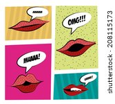 four different lips expressions ... | Shutterstock .eps vector #208115173