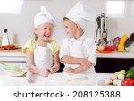 supercilious little boy chef... | Shutterstock . vector #208125388