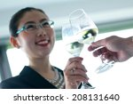 business girl with wine 02 | Shutterstock . vector #208131640