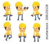 set of contractor character in... | Shutterstock .eps vector #208133128