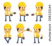 set of contractor character in... | Shutterstock .eps vector #208133164