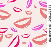 seamless pattern funny smiling... | Shutterstock . vector #208133596