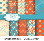 set of vector flower abstract... | Shutterstock .eps vector #208138984