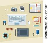 flat design vector illustration.... | Shutterstock .eps vector #208144789