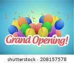 grand opening sign and balloons ... | Shutterstock . vector #208157578