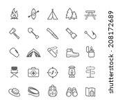 set of outline stroke camping... | Shutterstock .eps vector #208172689