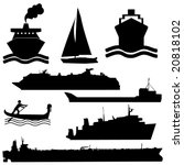 assorted boat silhouettes ferry tanker yacht and gondola - stock vector