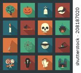 halloween flat icons set | Shutterstock .eps vector #208187020