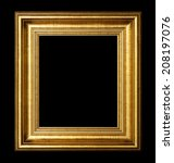 golden wood picture frame... | Shutterstock . vector #208197076