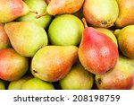 background of ripe juicy pears... | Shutterstock . vector #208198759