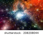 stars of a planet and galaxy in ... | Shutterstock . vector #208208044