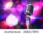 retro chrome microphone against ... | Shutterstock . vector #208217893