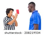 referee sending off football... | Shutterstock . vector #208219534