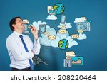 thinking businessman biting... | Shutterstock . vector #208220464