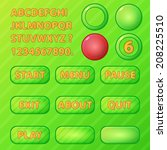 game ui elements   vector green ...