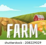 Farm Landscape With Fields And...