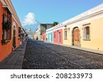 colorful street of antigua ... | Shutterstock . vector #208233973