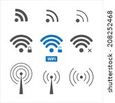 set of nine different wireless... | Shutterstock . vector #208252468
