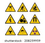 warning safety signs vector icon | Shutterstock .eps vector #208259959