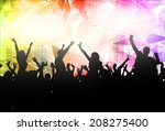 people dancing silhouettes | Shutterstock .eps vector #208275400