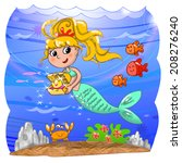 cartoon mermaid with treasure... | Shutterstock . vector #208276240