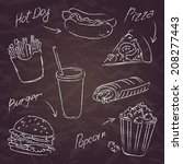fast food sketch on a dark... | Shutterstock .eps vector #208277443
