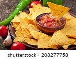 mexican nacho chips and salsa...   Shutterstock . vector #208277758